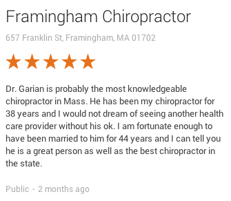 Framingham Chiropractor 5 star review
